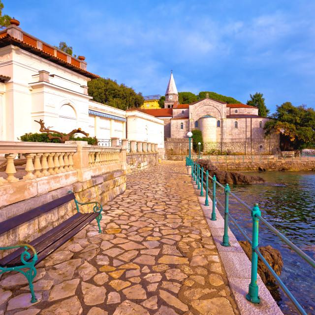 """Adriatic town of Opatija watefront walkway and church view"" stock image"