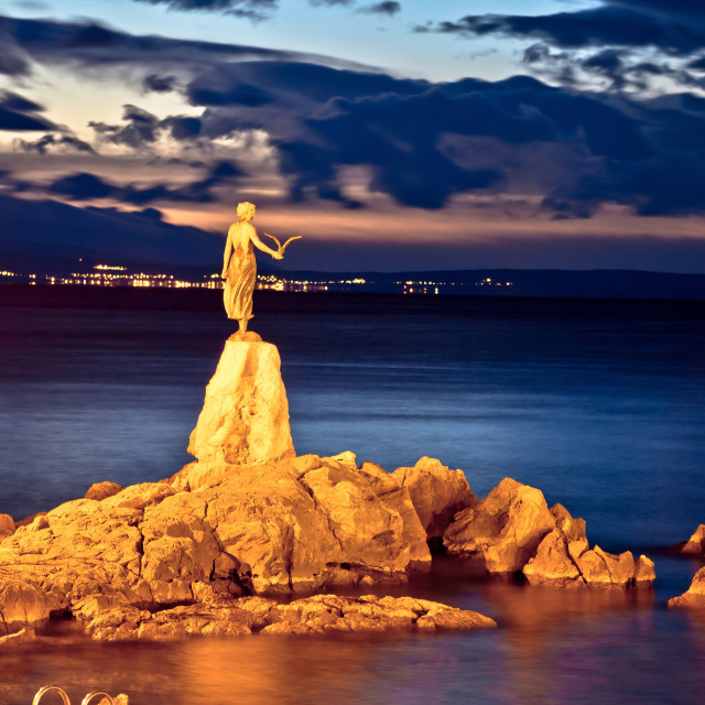 """Opatija bay statue at sunset view"" stock image"
