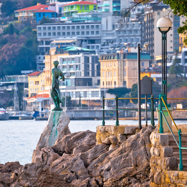 """""""Opatija bay statue and waterfront view"""" stock image"""