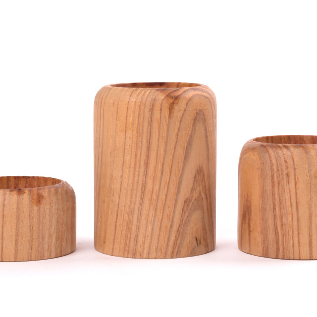 """""""Self made wooden candle decoration"""" stock image"""