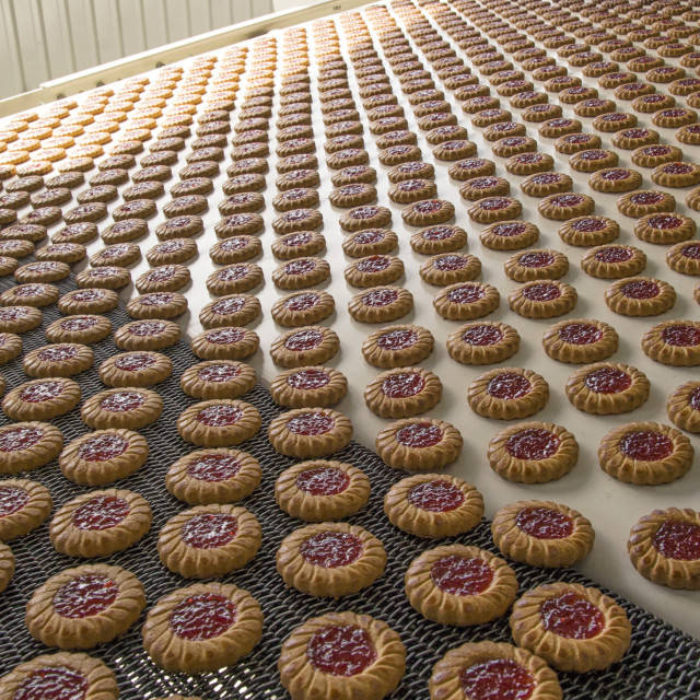 """Production of cookies on conveyor"" stock image"