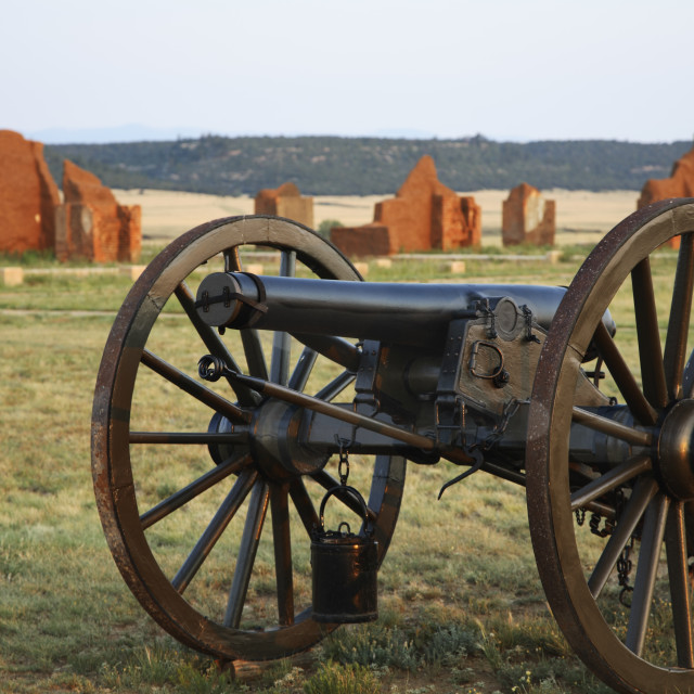 """""""Cannon and Post Officers' Quarters, Fort Union National Monument, Watrous, New Mexico USA"""" stock image"""