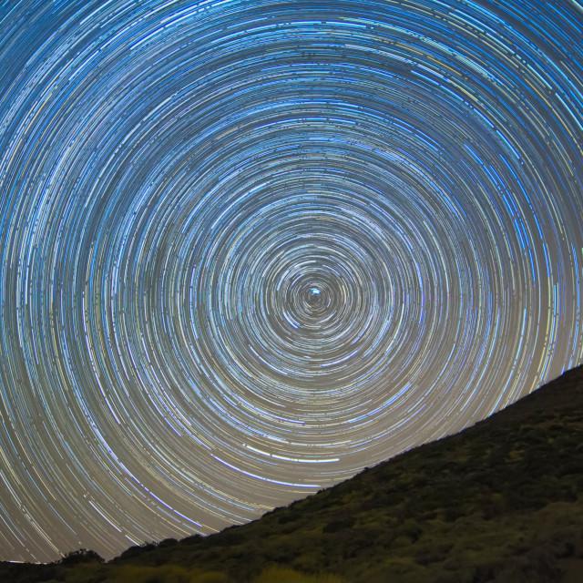 """Startrails over Tenerife"" stock image"