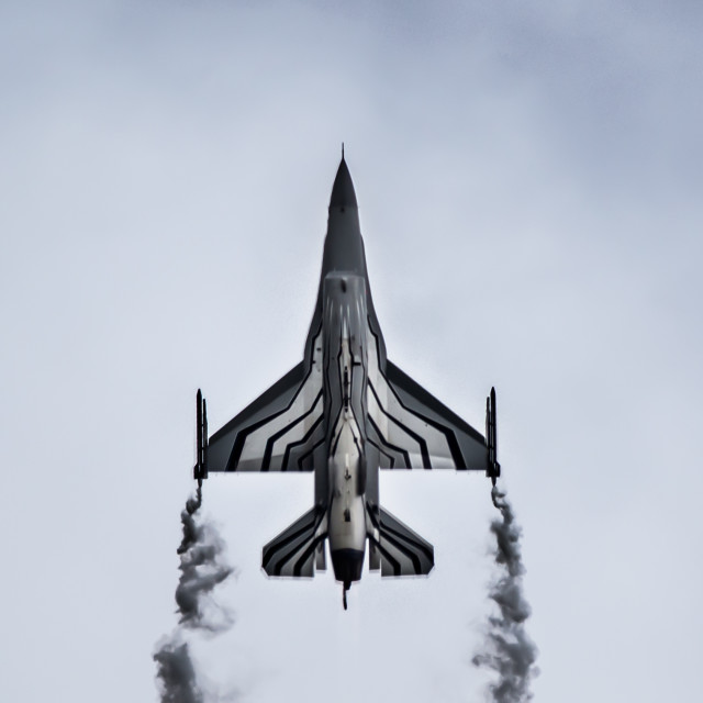 """F-16 Fighting Falcon flying up"" stock image"