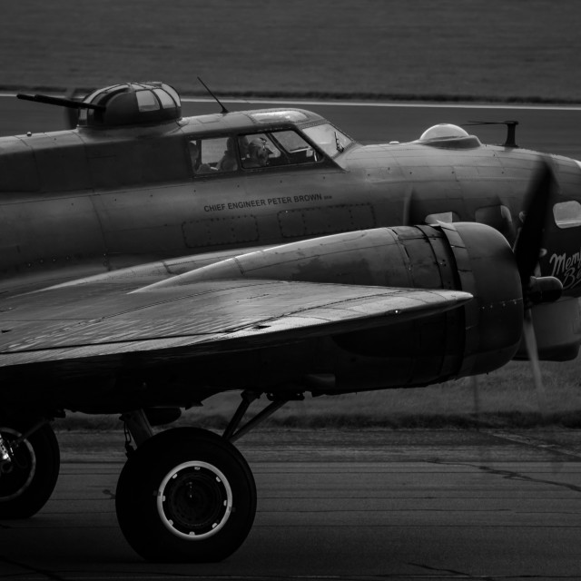 """B-17 Sally-B Taxiing Black and White"" stock image"