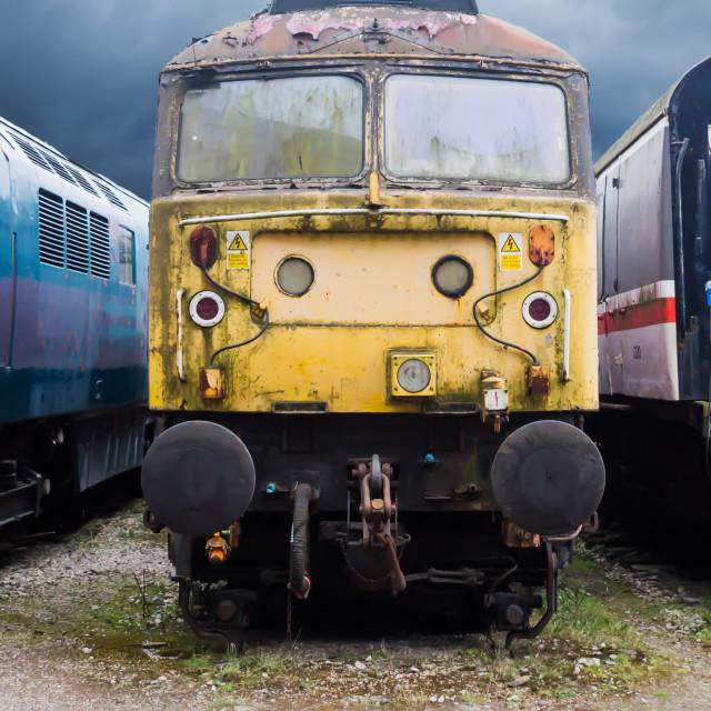 """Abandoned Yellow Train"" stock image"