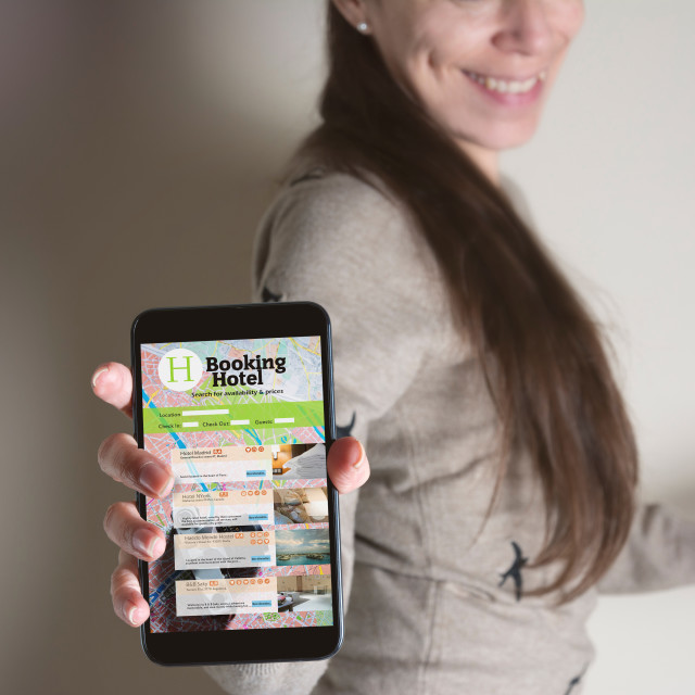 """""""Booking hotel online by smartphone . Travel and tourism concept"""" stock image"""