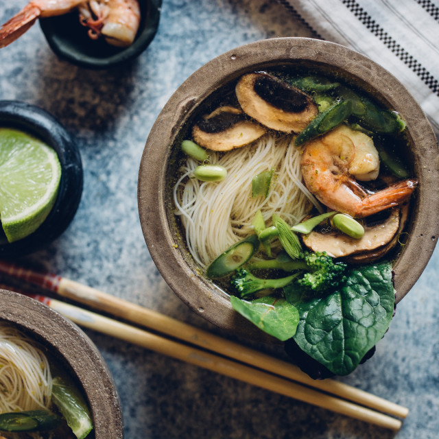 """""""Bowl of Asian Noodle Soup with chopsticks"""" stock image"""