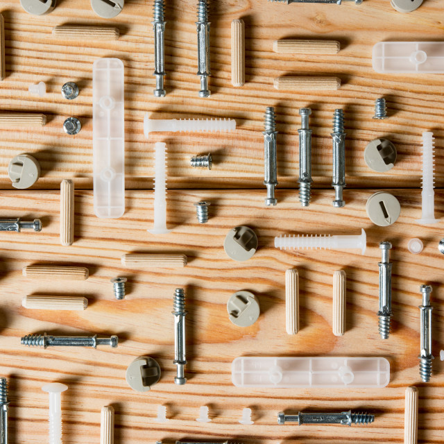"""Assorted Woodwork and Carpentry or Construction Tools on pine wood texture"" stock image"