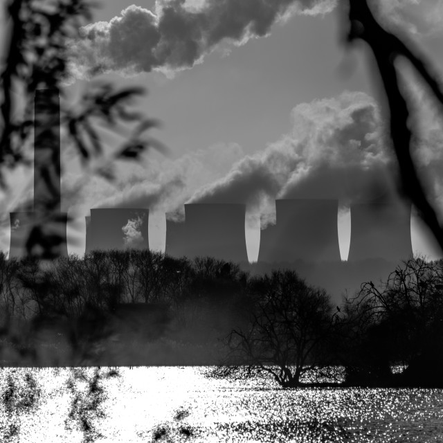"""Power plants over a lake"" stock image"