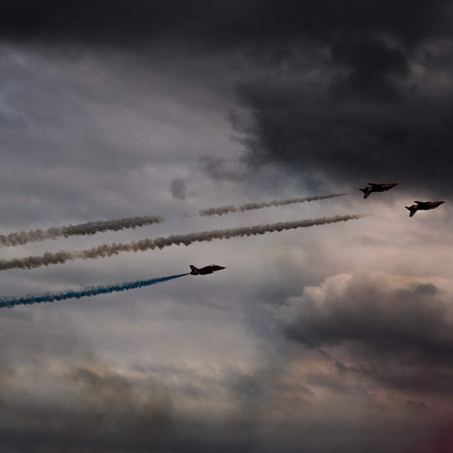 """Red Arrows - Into the Storm"" stock image"
