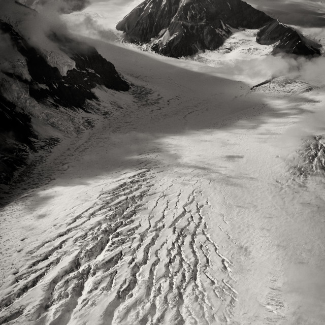 """Glacier Rift Monochrome"" stock image"