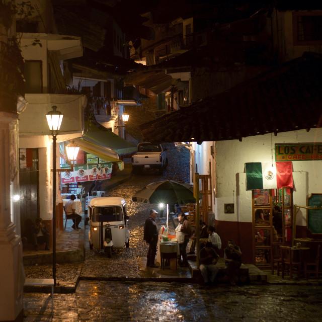 """Street in Cuetzalan"" stock image"