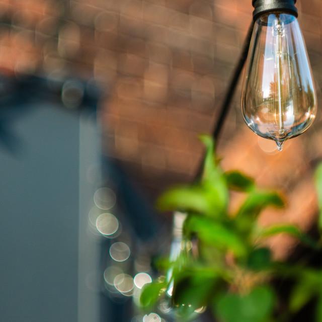 """Lights outside Cafe"" stock image"