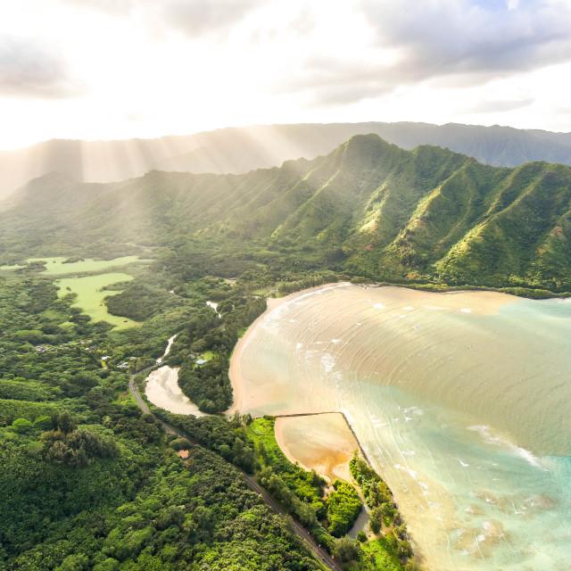 """""""Kahana Bay Sunset"""" stock image"""