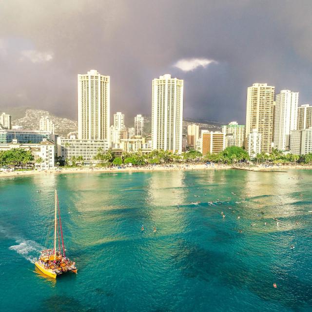 """""""Waikiki Rainbow"""" stock image"""