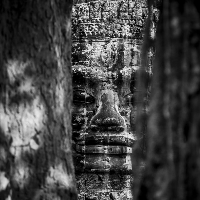 """Smiling Buddha Black and White"" stock image"