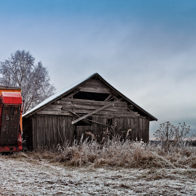 """""""Potato Harvester By An Old Barn"""" stock image"""
