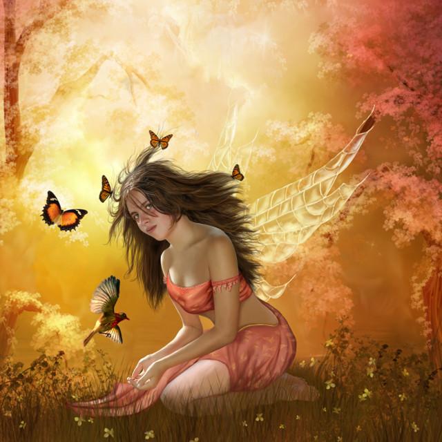 """ragazza con farfalle"" stock image"