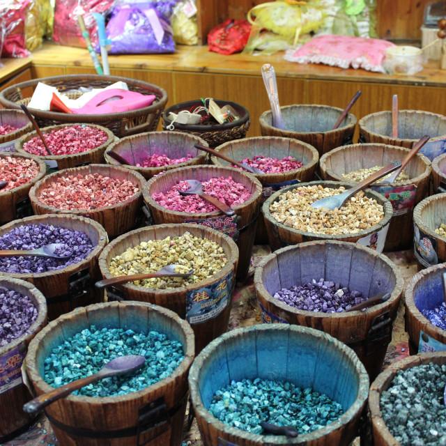 """""""Pot-Pourri on a market stall"""" stock image"""