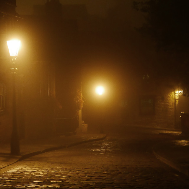 """Foggy street at night"" stock image"