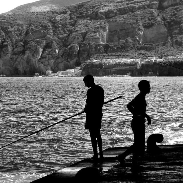 """""""Fishing in Sorrento."""" stock image"""