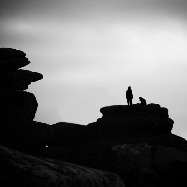 """Brimham Rocks Silhouettes."" stock image"