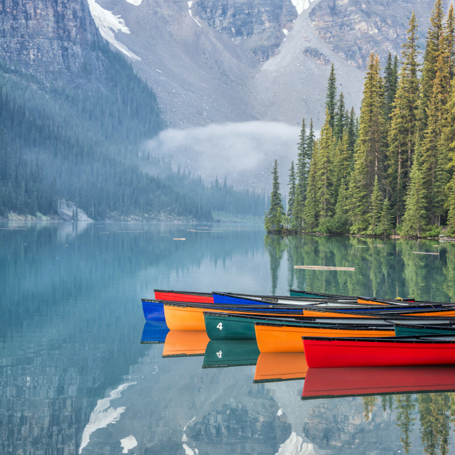 """Moraine Lake Reflection"" stock image"