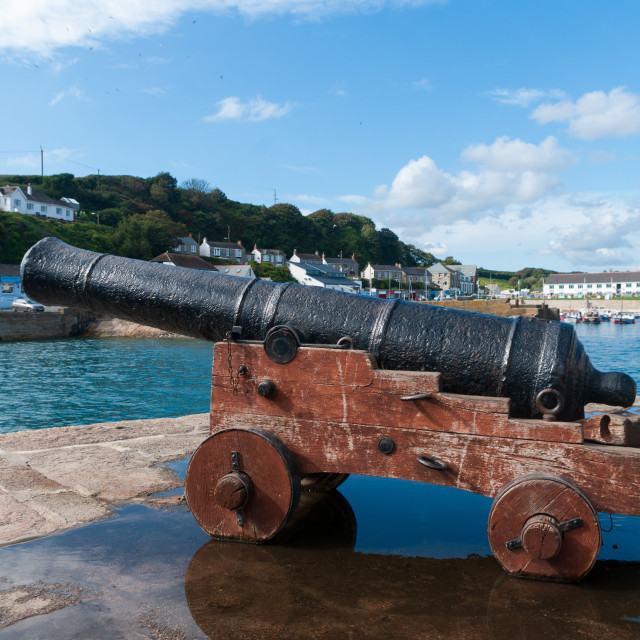 """Porthleven cannon"" stock image"