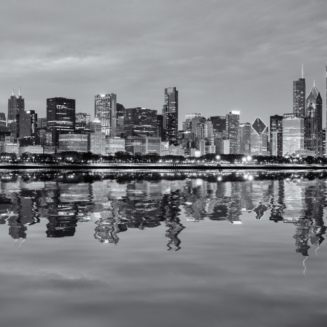 """""""Chicago Winter Reflections"""" stock image"""