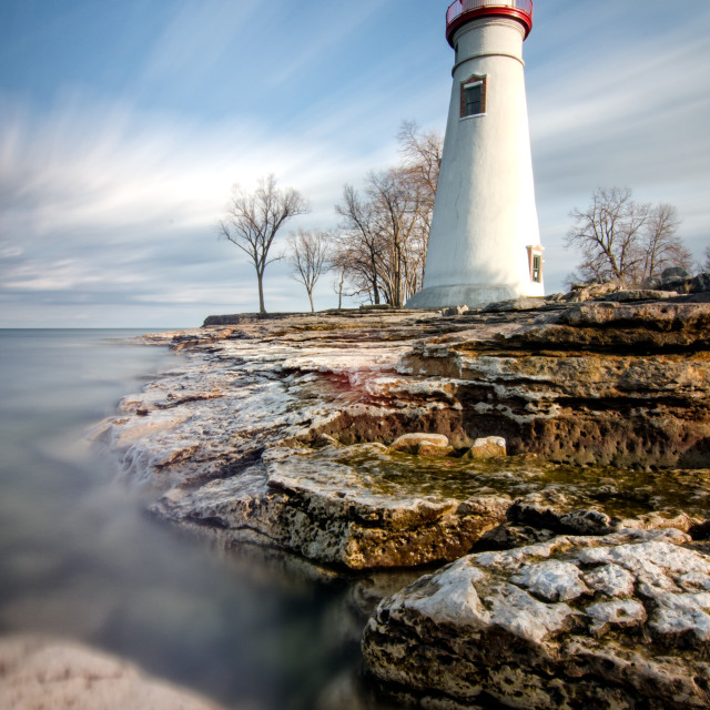 """Windy Afternoon at Marblehead Lighthouse"" stock image"