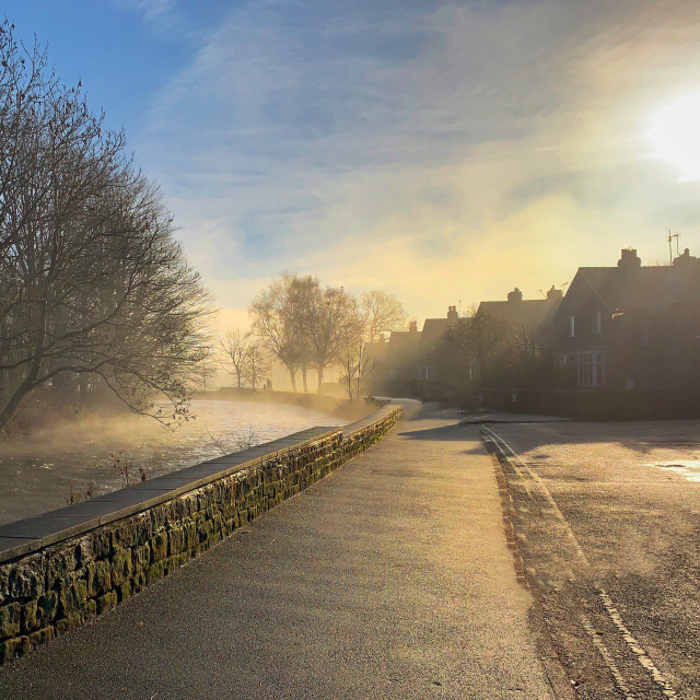 """""""Freezing fog over the river"""" stock image"""