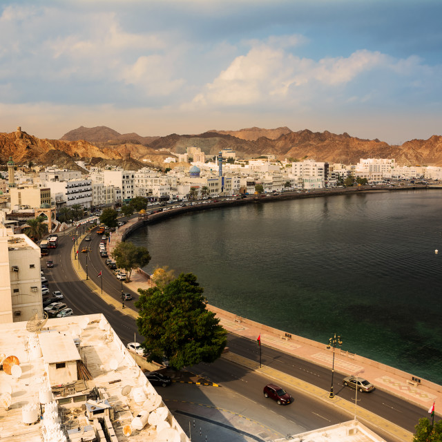 """Mutrah waterfront street in Muscat at sunset and Corniche"" stock image"