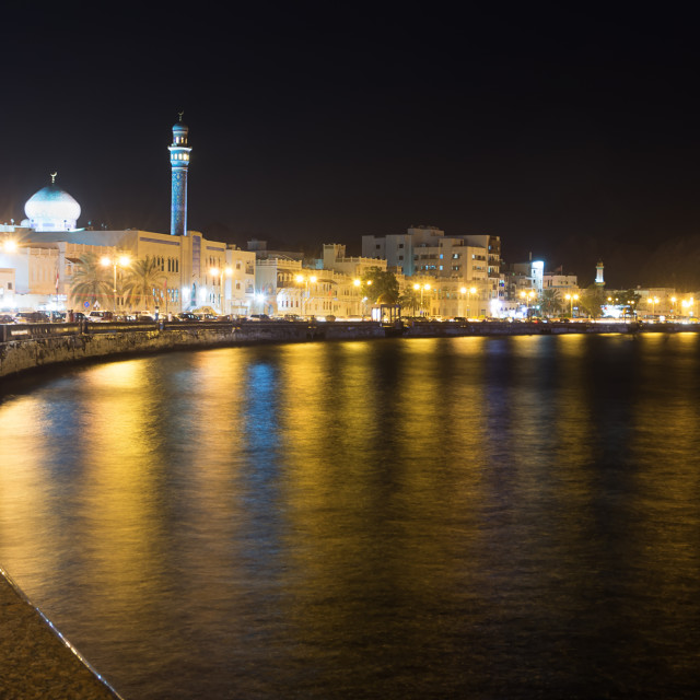 """Waterfront at Mutrah of Muscat at night"" stock image"