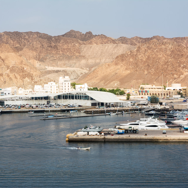 """Fish market on the port of Mutrah in Muscat and Corniche with no"" stock image"