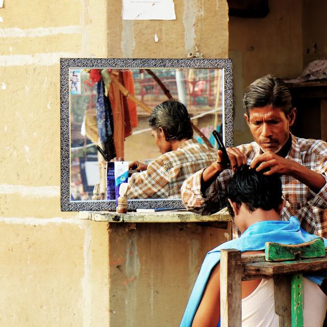 """Indian street barber India"" stock image"