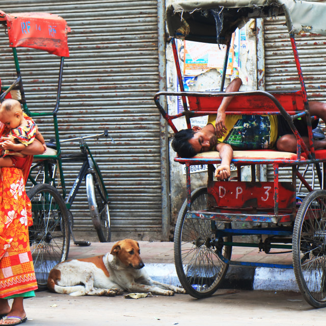 """Rickshaw driver Indian woman India"" stock image"