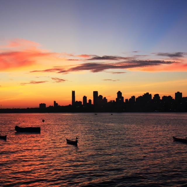 """""""Mumbai downtown sunset cityscape India"""" stock image"""