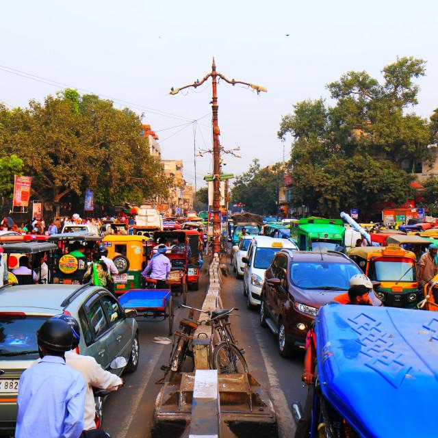 """Old Delhi heavy traffic jam cityscape India"" stock image"