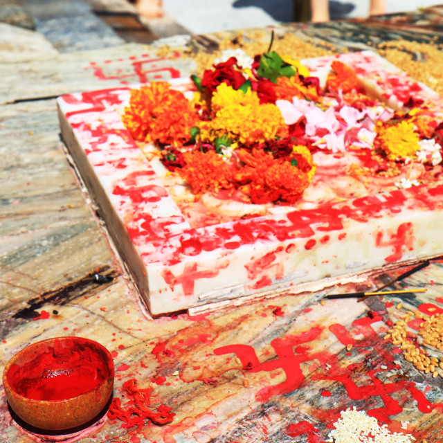 """""""Hinduism flower offering Jagdish temple Udaipur India"""" stock image"""