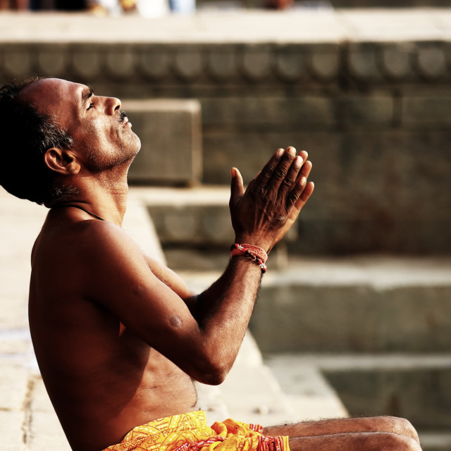 """Ganges river meditation Varanasi India"" stock image"