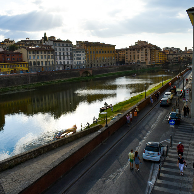 """""""Evening Sun on the River Arno"""" stock image"""