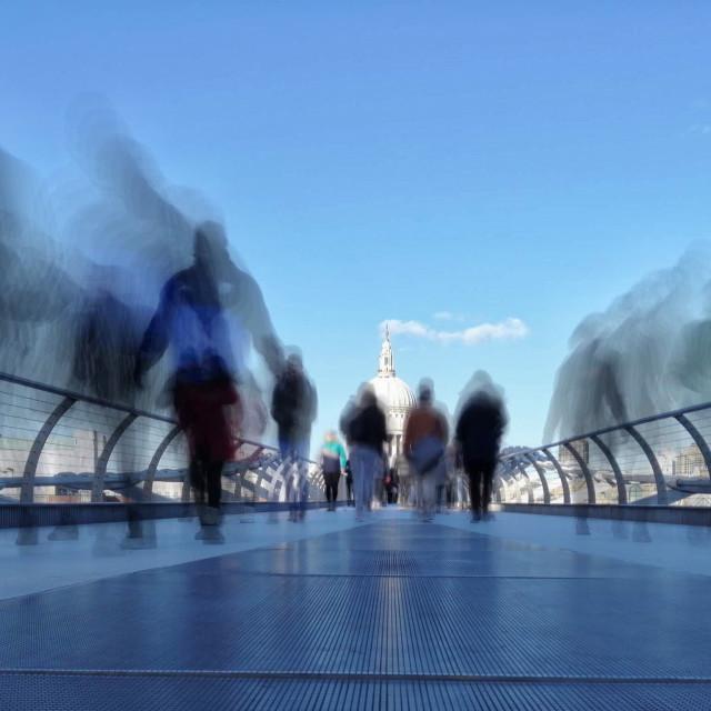 """Movement on Millennium Bridge"" stock image"