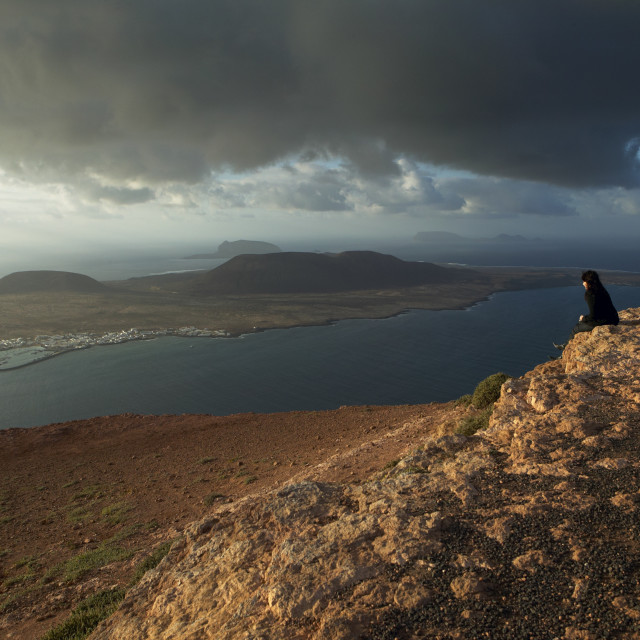 """La Graciosa island from the Mirador del Río, Lanzarote."" stock image"