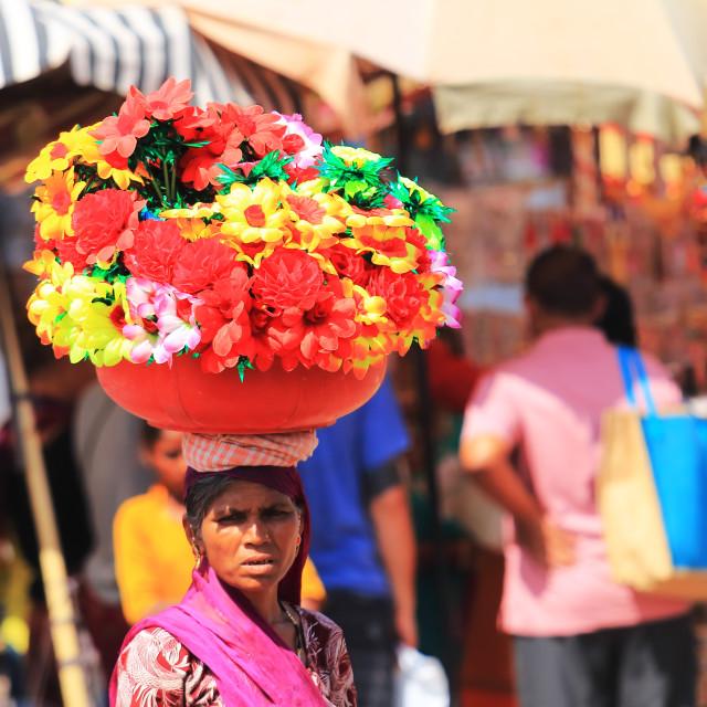 """Street market Indian woman Jodhpur India"" stock image"