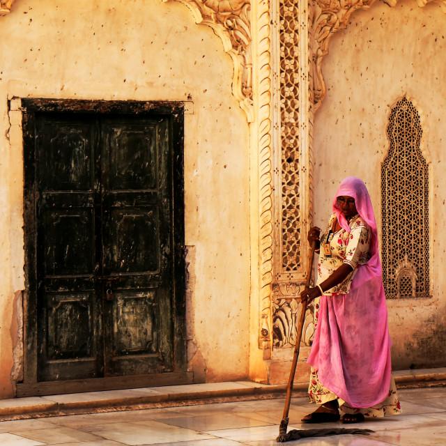 """Indian man cleaning Mehrangarh Fort Jodhpur India"" stock image"