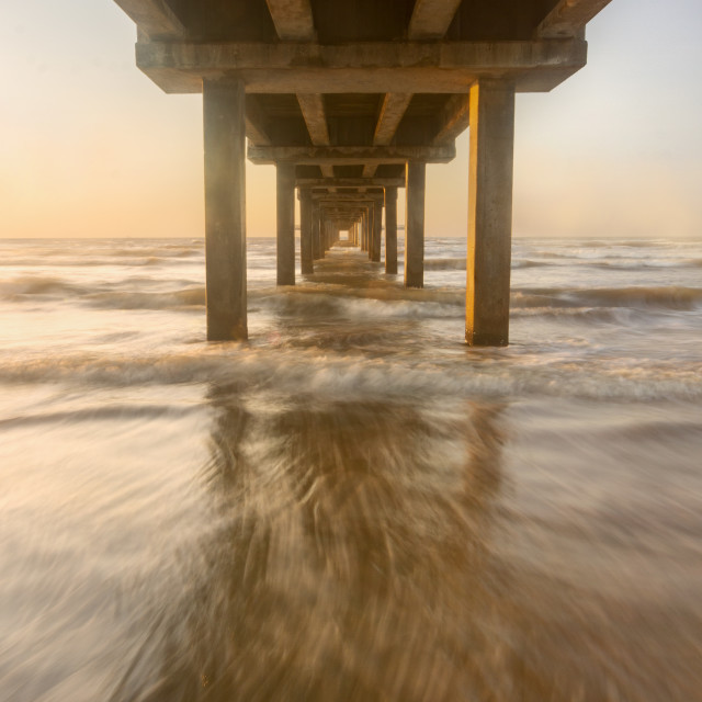 """Under the Horace Caldwell Pier Port Aransas Texas"" stock image"