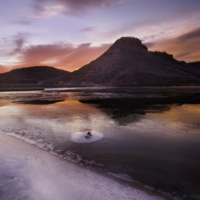 """""""Frozen lake over the Flatiron Reservoir located in Loveland Colorado"""" stock image"""