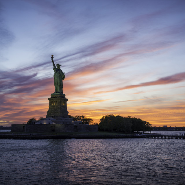 """""""Statue of Liberty and sunset"""" stock image"""
