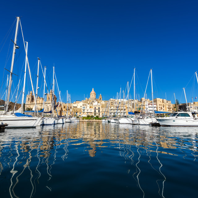 """Yachts and Cityscape of Birgu, Malta"" stock image"
